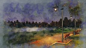 Walkway lit by street lamps at autumn night sketch royalty free illustration
