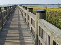 Walkway in Marsh. A walkway in the wetlands of a park near Ocean City Maryland Stock Photos