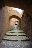 Walkway in Matera. The city of Matera in Basilicata, Italy is a place where walking is more efficient than driving.  This walkway illustrates the point perfectly Royalty Free Stock Images