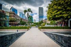 Walkway and modern buildings at Bonifacio Global City, in Taguig Stock Image