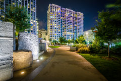 Walkway and modern buildings at night, seen at Romare Bearden Pa Stock Image