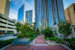 Walkway and modern buildings seen at Romare Bearden Park, in Upt. Own Charlotte, North Carolina Royalty Free Stock Images