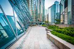 Walkway and modern skyscrapers at Central, in Hong Kong. Stock Photography