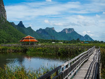 The walkway with the nature view of lake and mountains, Khao Sam. The walkway with the nature view of lake and mountains, place to travel Khao Sam Roi Yot Royalty Free Stock Images