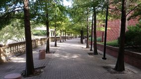 Walkway next to Wortham Center. Man-made bayou by the Wortham center Royalty Free Stock Photography