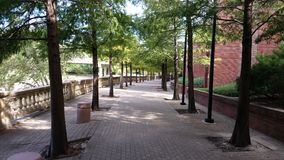 Walkway next to Wortham Center. Man-made bayou by the Wortham center Stock Image