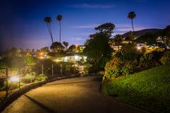 Walkway at night, at Heisler Park  Royalty Free Stock Photo