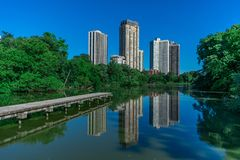 Side View of North Pond in Chicago with Building Reflections royalty free stock photo