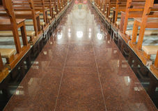 Walkway in old church Royalty Free Stock Photos