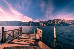 Walkway over the Lake Garda, Italy. Stock Photo