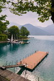 Walkway over the Lake Molveno, Italy. Royalty Free Stock Photo