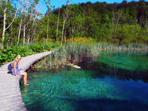 Walkway over the lake. Walkway in Plitvice Lakes National Park in Croatia Royalty Free Stock Images