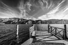 Walkway Over The Lake Garda, Italy. Royalty Free Stock Photo