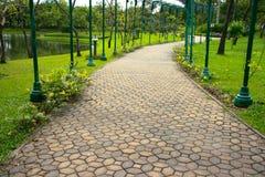 Walkway in park. Brick walkway in green park Royalty Free Stock Image