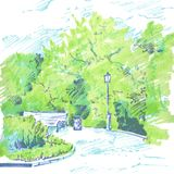 Walkway of park. With flower beds, a lantern and bench, spring foliage, hand drawn sketch of urban landscape, vector illustration Stock Image