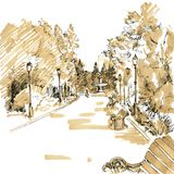 Walkway of park. With  lanterns, benches and fountain in the distance,  hand drawn sketch of urban landscape, vector illustration Royalty Free Stock Images