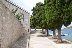 Walkway in a park by medieval Franciscan Monastery Stock Photo