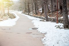 Walkway in the park with snow. In morning of winter season. Scenery wallpaper and background Stock Image