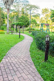 Walkway and path brick in garden royalty free stock photography
