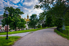 Walkway in Patterson Park, Baltimore, Maryland. Royalty Free Stock Photos