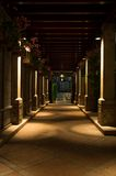 Walkway Pillars. Nightshot of an outdoor walkway decorated with pillars Royalty Free Stock Image