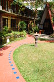 Walkway and plant in garden. They are walkway and plant in garden.this place is near office in thailand Stock Images