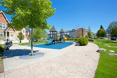 Walkway and playground. Residential complex Royalty Free Stock Image