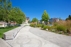 Walkway and playground. Residential complex Stock Images
