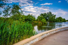 Walkway and pond at Patterson Park, Baltimore, Maryland. Royalty Free Stock Images