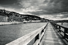 Walkway in the Port of Fecamp Stock Photography