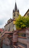 Walkway and Protestant cathedral, Sibiu, Romania Royalty Free Stock Photography