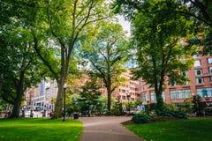 Walkway in the Public Garden, in Boston, Massachusetts. Stock Photos