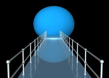 Walkway With Railing in Tunnel. Walkway with metal railing towards light at end of tunnel in blue colors on black background Royalty Free Stock Images