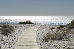 Walkway on the sand Royalty Free Stock Photography