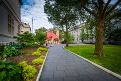 Walkway and sculpture at Burr Mall, in downtown Hartford, Connec Stock Photos