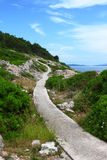 Walkway by the sea. Paved walkway winding through rocky mediterranean landscape near the sea, island Losinj, Croatia Stock Photos