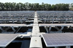 Walkway of Floating Solar PV System stock photos