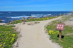 Walkway and sign for Asilomar State beach in Pacific Grove, Cali Stock Images