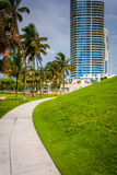 Walkway and skyscraper at South Pointe Park, Miami Beach, Florid Royalty Free Stock Photo
