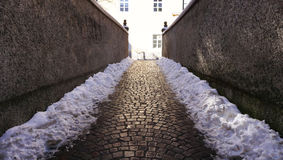 Walkway with snow in oldtown Stock Photography