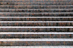 Walkway of stairs built of stone and concrete in the front view. Royalty Free Stock Photo