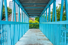 The walkway and structure of blue iron bridge Stock Photos