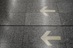 The symbol shown the walkway. Walkway in subway station was shown by arrow symbol for the right way royalty free stock image