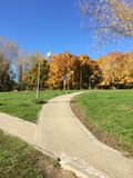 Walkway in the sunny autumn park royalty free stock photos