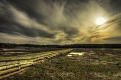 Walkway. Sunset of an old walking bridge in Irving Nature Park, Saint John New Brunswick Stock Photography