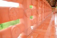 Walkway beside temple. Walkway beside Thai red Bodh Gaya in Thai Temple, Nakhonsawan, Thailand Stock Images