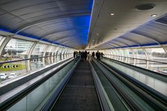 Manchester Airport walkway. Walkway between the terminals at Manchester Airport, England stock images