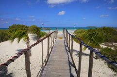 Walkway to the beach. Wooden walkway heading to tropical beach, cayo coco, cuba Royalty Free Stock Image