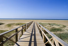 Walkway to the beach. Wooden path leading to the beach at the Mediterranean Sea Stock Image