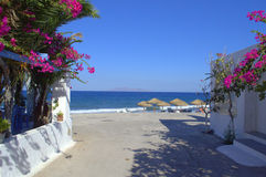 Walkway to the beach,Kamari,Santorini Stock Photography